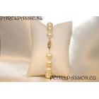Parelarmband grote zoetwaterparel wit 9,5- 10mm 20cm gouden slotje