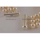 Verkocht * Parelarmband 3 Rij-ig zoetwaterparel wit, 6-7mm AAA 925 zilver