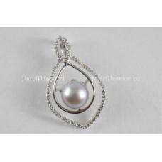 3. Parelhanger grijs AAA zoetwaterparel zilveren 925 rh