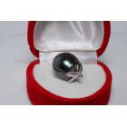 Zwarte Tahiti parelhanger 13x14mm met 925 zilver