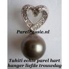 Tahiti  parel hanger zilver 9mm ronde zoutwater, 925 Valentijnsdag Liefde Bruid Moederdag
