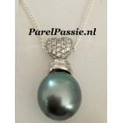 Tahiti parehanger zoutwater grijs pauw 14mm, zilveren hart 925 liefde voor altijd