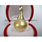 Enorme gouden Zuidzee parel 16 mm aan 14k JKa 585 cliphanger