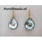 Tahiti parels echte druppel  pareloorbellen 12x15-16mm grijs 14k gouden
