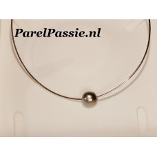 Tahiti-parel  zoutwaterparel zilver 925 collier 50cm of korter