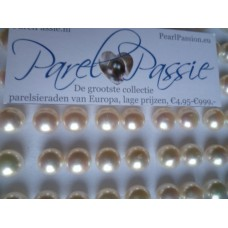 Parel * oorknoppen wit 10-11mm AA met sterling zilver koopje