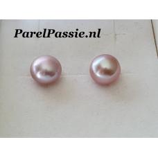 Pareloorbellen donker roze 10-11mm AAA zoetwater stevig zilver