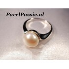Parel ring met 11 mm witte zoetwater, AAA kwaliteit mt 17,3 54 - 55