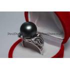 Tahiti parel ring ca. 13mm zwart /donker grijs, zilver 925 mt 17,5