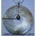 Tahiti zoutwaterparel hanger groot in zoutwater oester schelp, zilveren 8,5cm