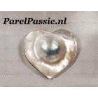 Mabe Zuidzee  parel mega grote 34mm zilverwit hartvorm