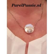 Zuidzee mabe parelhanger met zilveren anker collier 47cm - 48cm afgeprijsd