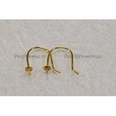 Oorhaken * 18k goud voor pareloorbellen 750 pin kap 3mm