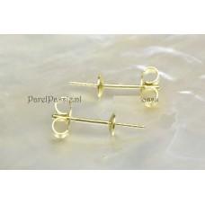 Gouden oorstekers JKa 14k 585  4mm kap, parels los kopen