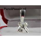 Zilveren hanger voor zeer grote losse parel met 3 cz kristallen