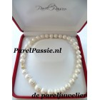 Parelcollier 11 - 13 mm grote zoetwaterparels 2x 5mm bal,,14k goud slot 44cm