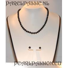 Parelset zwarte parels ketting + oorbellen, 8mm, 43cm