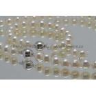 Verkocht 5. Parelset* 3 delig ronde zoetwater parels 9 mm- 10 mm AA ca. 43,5 + 19,5cm