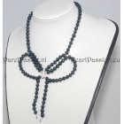 Design parelketting strik zwarte parelketting zoetwater zilveren slot 925