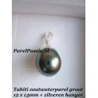 Verkocht Tahiti * parel hanger grote12.1x 13.8mm pauw zwart 925 zilver