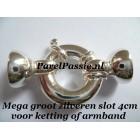 Slot groot  4 cm voor  ketting of armband, zilver 925 met eindkappen