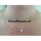 Grijze Keshi Tahiti parel zoutwater parel met witgouden collier 45cm