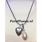 Lang collier met hanger parel en hart grote zoetwater zilver 925