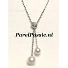 Modern collier witgouden met parelhangers diamanten schijf fijn collier