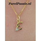 Letter hanger E goud 14k met een diamantje parel optie