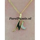 Letter hanger M goud 14k met een diamantje parel optie