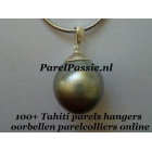 Grijze Tahiti parelhanger 13 x 15mm zoutwater zilveren hanger 925