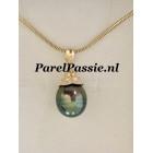 Tahiti * parelhanger pauw 11mm x 14mm 14k gouden collier apart te koop