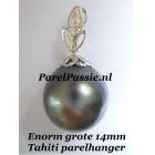 Tahiti parel hanger zwarte zoutwater diamant witgoud 14k