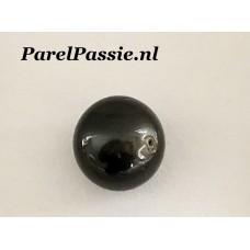 ZwarteTahiti parel echte zoutwaterparel  enorm grote 15.3 x 16mm geheel geboord