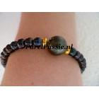 Tahiti parel met zwarte armband zoutwaterparel ca 11mm