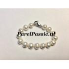 Parelarmband zoetwater parels wit 8,5 -10mm 16 a 17cm voor slanke pols