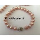 Parelarmband bloemslot zilver roze wit zoetwaterparels 19cm