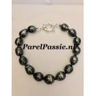 Tahiti parelarmband natuurlijke donkere zwarte zoutwater parels  9mm -10mm zilveren slot