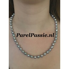 Akoya parelcollier 8 mm blauw grijs barok zoutwater zilver modern slot