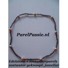 Edelsteen collier 8 roze parels, zilveren verguld JKa slot 50cm