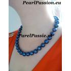 Blauwe parelketting grote parels 10.5- 11.3mm 46cm  zoetwaterparels ,