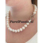 Grote parels ketting collier zoetwater modern zilveren clipslot 46,5cm