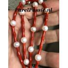 Bloedkoralen parels collier AAA witte zoetwater zilveren slot max. 50 cm maatwerk