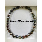 Parelketting pauw kleurige grote parels 11mm -14mm zoetwaterparels
