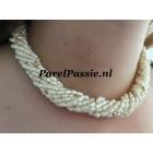 Parelketting 5 colliers in 1 met 70 gouden14 karaats balletjes 42 50 90 cm ,