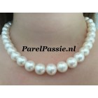 Grote parels collier witte ronde AAA 11-12mm zoetwater 40 - 45 cm witgouden slot JKa