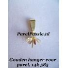 Gouden hanger  voor parel tulp kap pin, 14k  585,