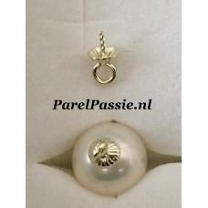 Gouden hanger rib kap pin, 14k  585,  zonder parel 2 stuk om oorbellen te maken