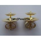 Gouden oorstekers voor grote parels JKa 14k 585 parelschotel 7mm en 11mm achter