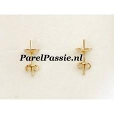 Gouden oorstekers voor grote parels 14k 585 parelschotel 7mm